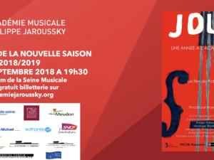 24 septembre 2018 – Lancement de saison de l'Académie Jaroussky